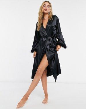 Черный атласный халат с отделкой искусственными перьями Night-Черный цвет NIGHT