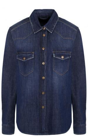 Джинсовая блуза прямого кроя с потертостями 7 For All Mankind. Цвет: синий