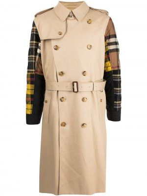 Patchwork-check trench coat Burberry. Цвет: коричневый