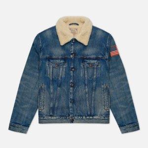 Мужская джинсовая куртка RL Icon Trucker Denim Polo Ralph Lauren. Цвет: синий