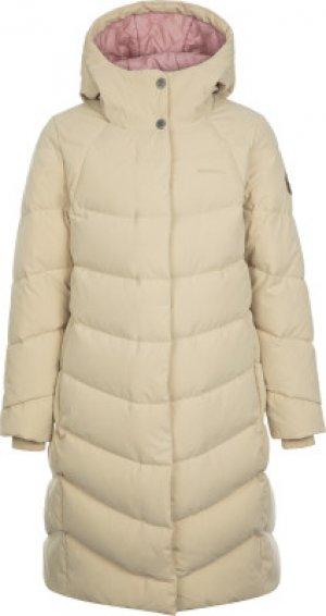 Пальто пуховое для девочек , размер 146 Merrell. Цвет: бежевый