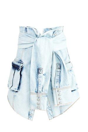 Джинсовая юбка в стиле куртки, повязанной на талии BALMAIN. Цвет: голубой