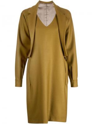 Платье-шифт в стиле блейзера Bless. Цвет: жёлтый и оранжевый