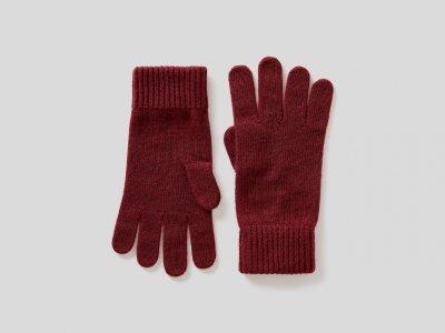 Шерстяные перчатки Benetton. Цвет: красный