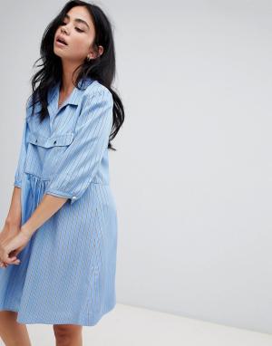 Свободное платье мини в полоску BA&SH. Цвет: синий