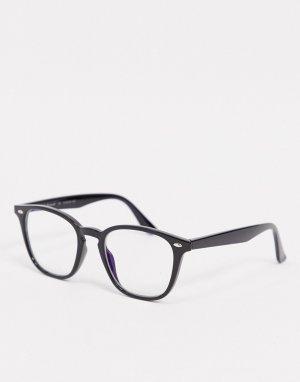 Черно-синие очки в круглой оправе -Черный AJ Morgan