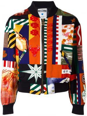 Куртка-бомбер с принтом пэчворк Moschino Pre-Owned. Цвет: черный