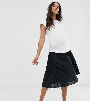 Плиссированная юбка миди с посадкой под животом ASOS DESIGN Maternity-Черный Maternity