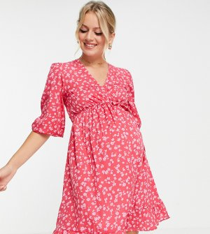 Платье миди красного цвета с цветочным принтом и запахом -Красный New Look Maternity