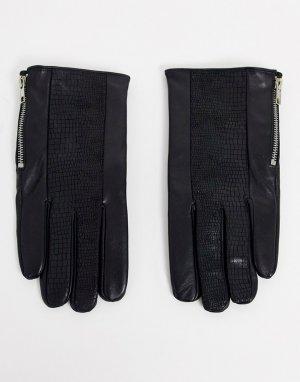 Черные кожаные перчатки с молниями -Черный ASOS DESIGN