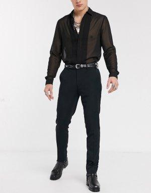 Черные брюки скинни под смокинг -Черный ASOS DESIGN