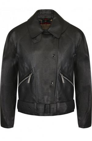Кожаная куртка на кнопках с поясом Burberry. Цвет: черный