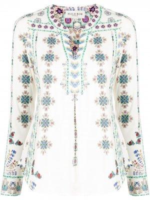 Блузка с V-образным вырезом и цветочным принтом Hale Bob. Цвет: белый