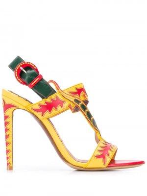 Декорированные босоножки на шпильке Ralph Lauren Collection. Цвет: желтый