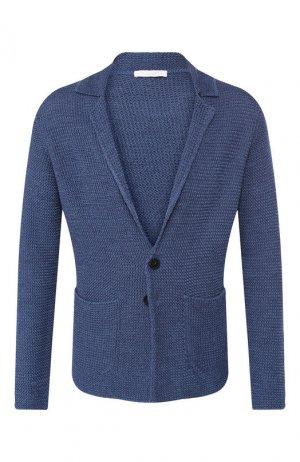 Пиджак из смеси хлопка и шелка Cruciani. Цвет: голубой