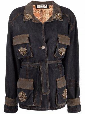 Декорированная джинсовая куртка 1980-х годов A.N.G.E.L.O. Vintage Cult. Цвет: черный