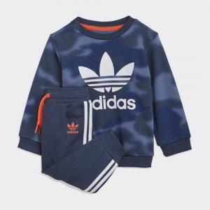 Комплект: свитшот и брюки Camo Originals adidas. Цвет: белый