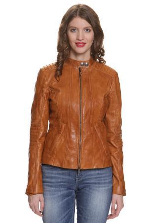 Кожаная куртка Tom Tailor 370008500708277. Цвет: светло-коричневый