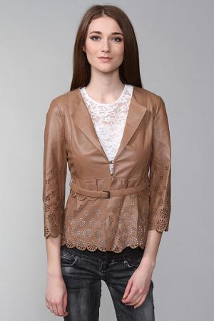 Кожаная куртка SCERVINO. Цвет: коричневый