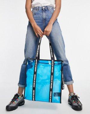 Голубая прозрачная сумка-тоут с черным ручками логотипом -Голубой House of Holland