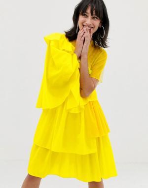 Платье из ткани рипстоп с оборками -Желтый House of Holland