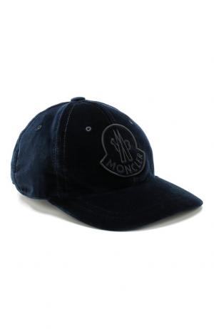 Вельветовая кепка с логотипом бренда Moncler. Цвет: темно-синий