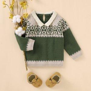 Детский свитер с рукавом регланом и рисунком SHEIN. Цвет: многоцветный