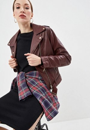 Куртка кожаная Diesel. Цвет: бордовый