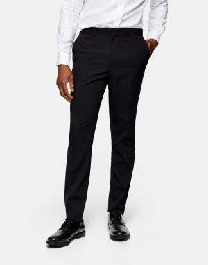 Черные зауженные брюки под смокинг -Черный Topman