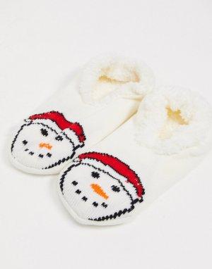 Носки-тапочки с изображением снеговика -Многоцветный Brave Soul