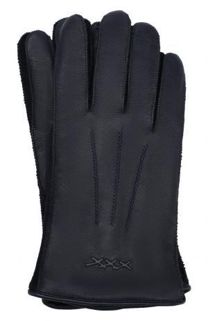 Кожаные перчатки Ermenegildo Zegna. Цвет: темно-синий