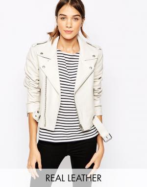 Кожаная куртка Ganni. Цвет: белый дым