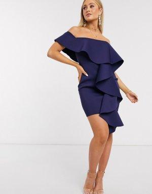 Темно-синее платье мини с открытыми плечами и оборкой -Темно-синий Missguided
