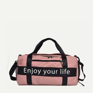 Спортивная сумка с принтом лозунгов SHEIN. Цвет: розовые