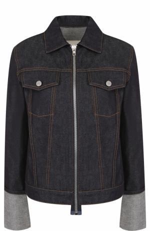 Джинсовая куртка на молнии с отложным воротником Helmut Lang. Цвет: синий
