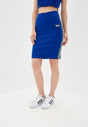 Юбка adidas Originals SKIRT. Цвет: синий