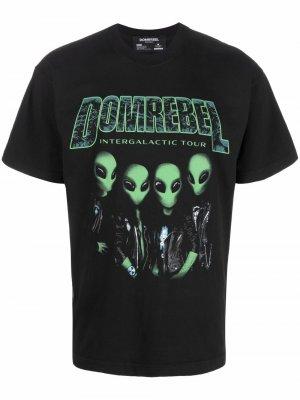 Graphic-print cotton T-shirt DOMREBEL. Цвет: черный