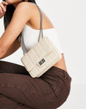 Кремовая квадратная стеганая сумка на плечо -Белый French Connection