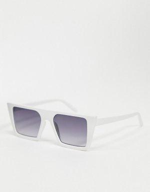 Белые солнцезащитные очки в крупной оправе -Белый AJ Morgan