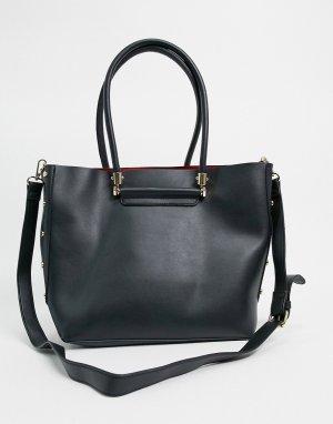 Черная сумка-шоппер с отделением для ноутбука и отделкой заклепками -Черный ASOS DESIGN