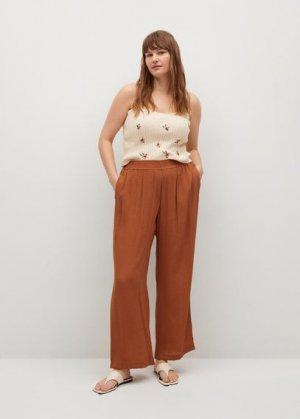 Струящиеся брюки-клеш - Fluber Mango. Цвет: золотисто-оранжевый