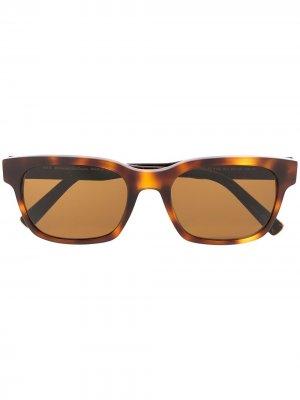 Солнцезащитные очки черепаховой расцветки Ermenegildo Zegna. Цвет: коричневый