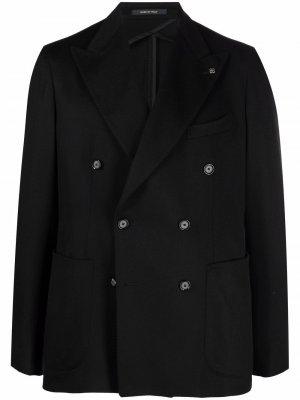 Двубортный пиджак с заостренными лацканами Tagliatore. Цвет: черный