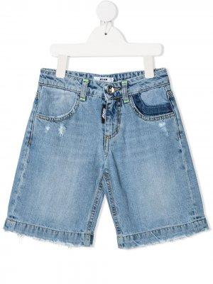 Джинсовые шорты с эффектом потертости MSGM Kids. Цвет: синий