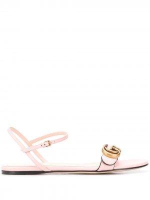Сандалии с логотипом Double G Gucci. Цвет: розовый