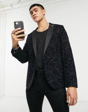 Пиджак с атласными лацканами черного цвета декоративной фактурой -Черный Twisted Tailor