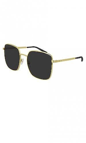 Солнцезащитные очки metal logo square Gucci. Цвет: металлический золотой
