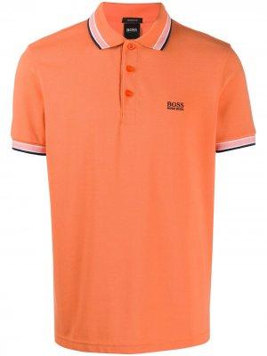 Рубашка поло с вышитым логотипом Boss Hugo. Цвет: оранжевый