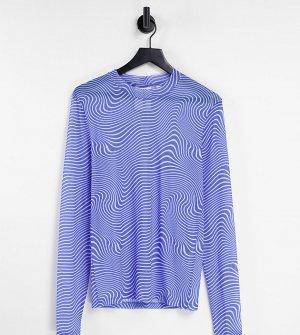 Лонгслив из сетки с волнистым принтом голубого цвета COLLUSION Unisex-Голубой