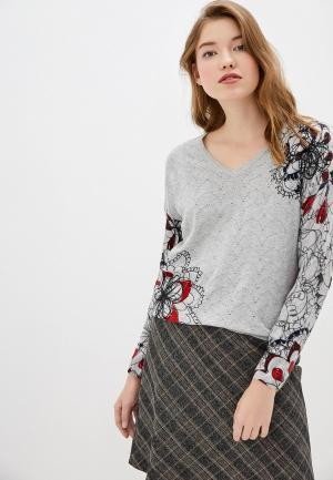 Пуловер Desigual. Цвет: серый